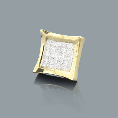 Invisible Set Princess Cut Diamond Earring 0.63ct 14K Gold