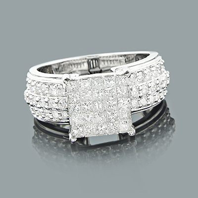 Invisibly Set Princess Cut Diamond Engagement Ring 2ct 14K Gold