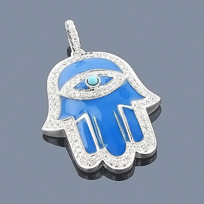 Jewish Jewelry: 14K Diamond Hamsa Necklace 0.41ct Blue