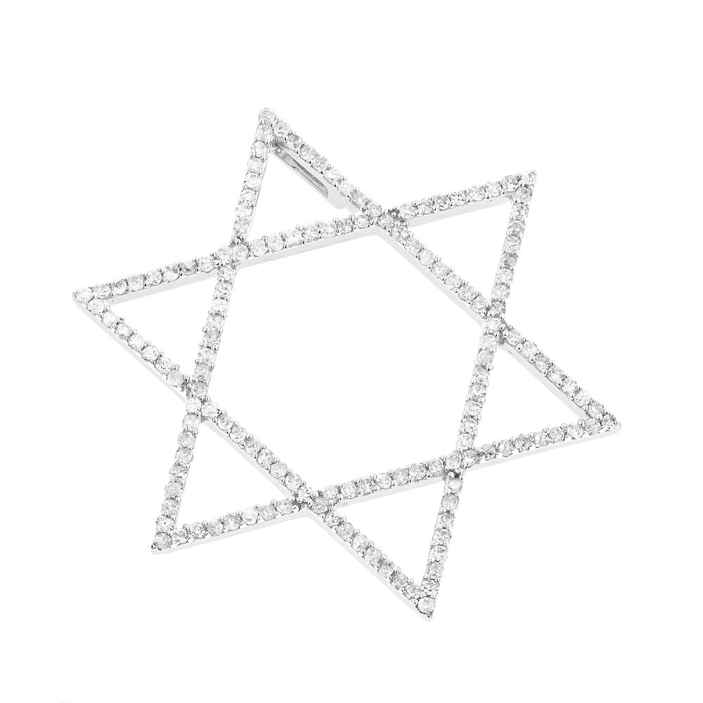 Jewish Jewelry Solid 14K Gold Diamond Star of David Pendant 1/2 carat