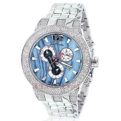 Joe Rodeo Broadway Mens Diamond Watch 5ct Blue MOP