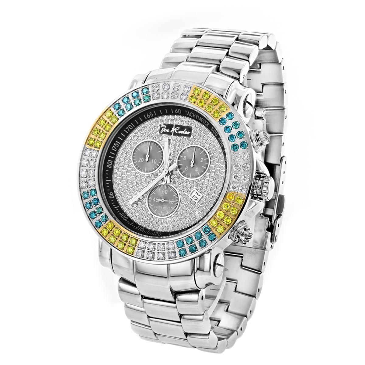 Joe Rodeo Junior Men's Diamond Watch White Yellow Blue Diamonds 4.3ct