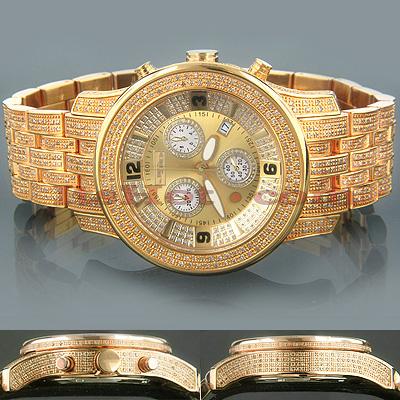 Joe Rodeo Mens Diamond Watch 10.50ct Yellow Gold 2000