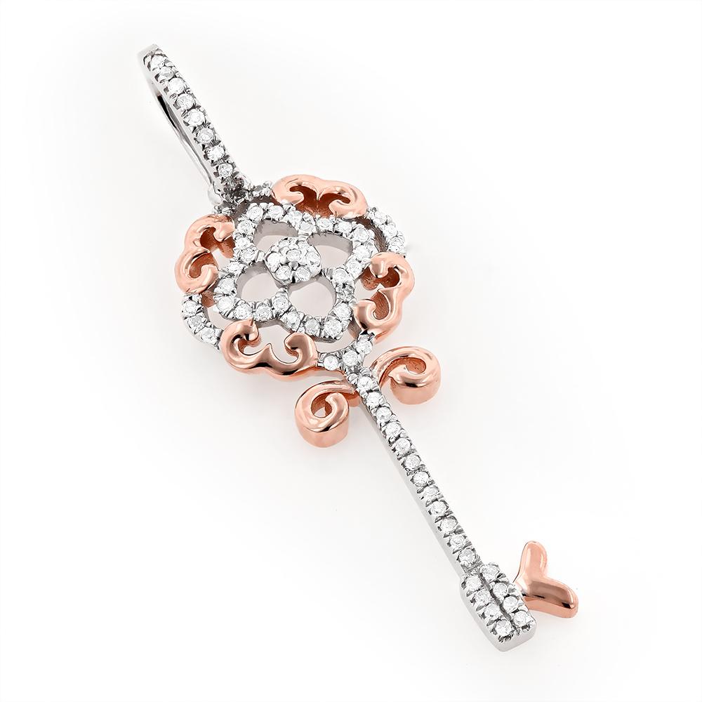 Key Pendant Jewelry 0.1ct 10K Gold Womens Diamond Charm