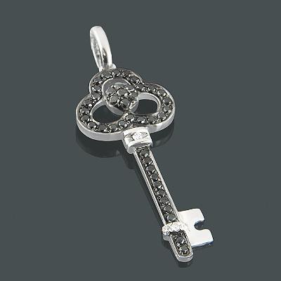 Key Pendants 14K White Black Diamond Key Pendant .55ct