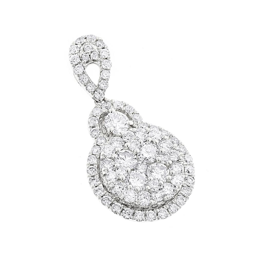 Ladies 14K Gold Cluster Diamond Drop Pendant 1.75ct by Luxurman