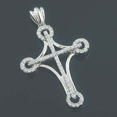 Ladies 14K Gold Designer Diamond Cross Pendant 0.64ct