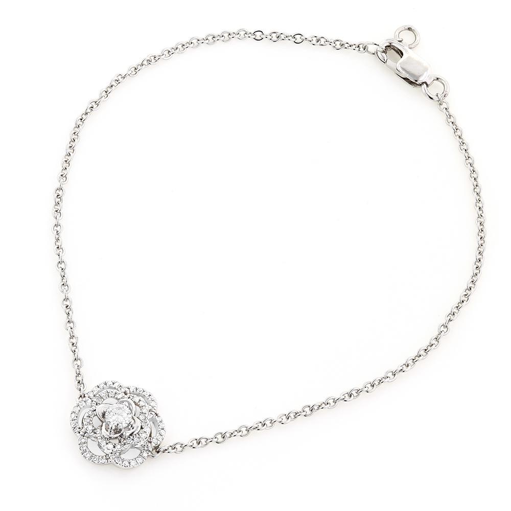 Ladies 14K Gold Designer Diamond Flower Bracelet 0.25carats