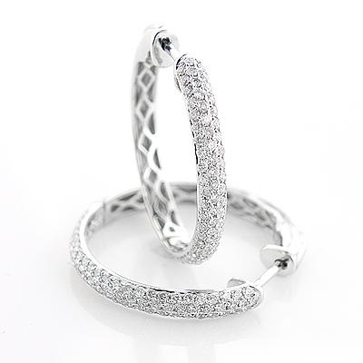Ladies 14K Gold Round Diamond Hoop Earrings 0.9ct
