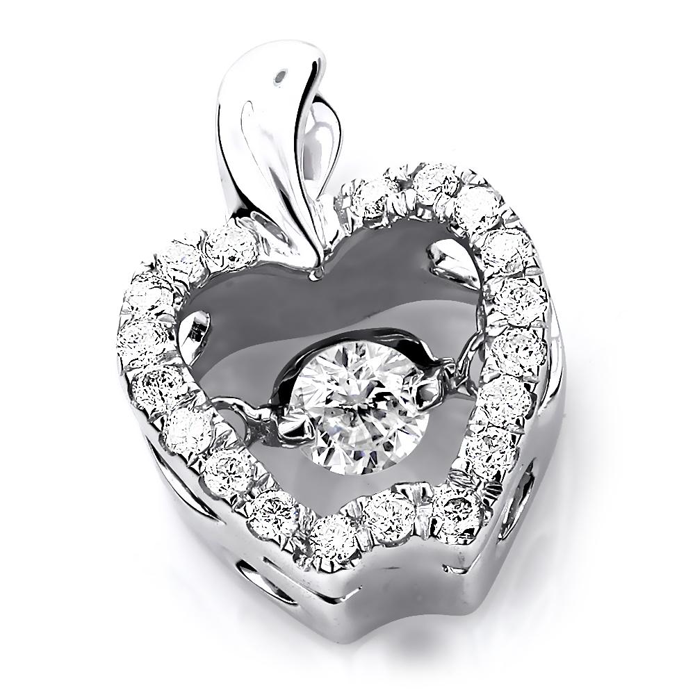 Ladies 14K Gold Small Dancing Diamond Apple Pendant 0.35 Heart
