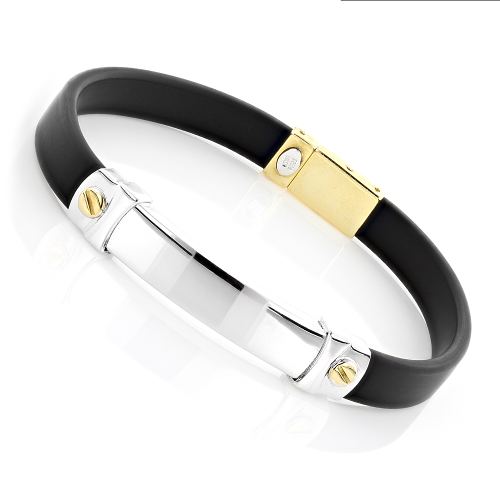 Ladies 18K Gold and Rubber Bracelet