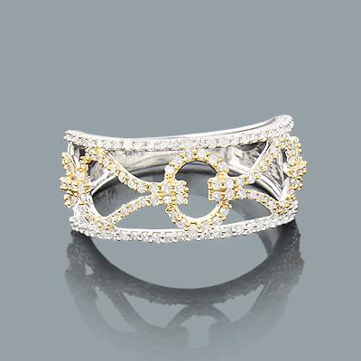 Ladies 2 Tone Gold Diamond Ring 0.49ct 14K