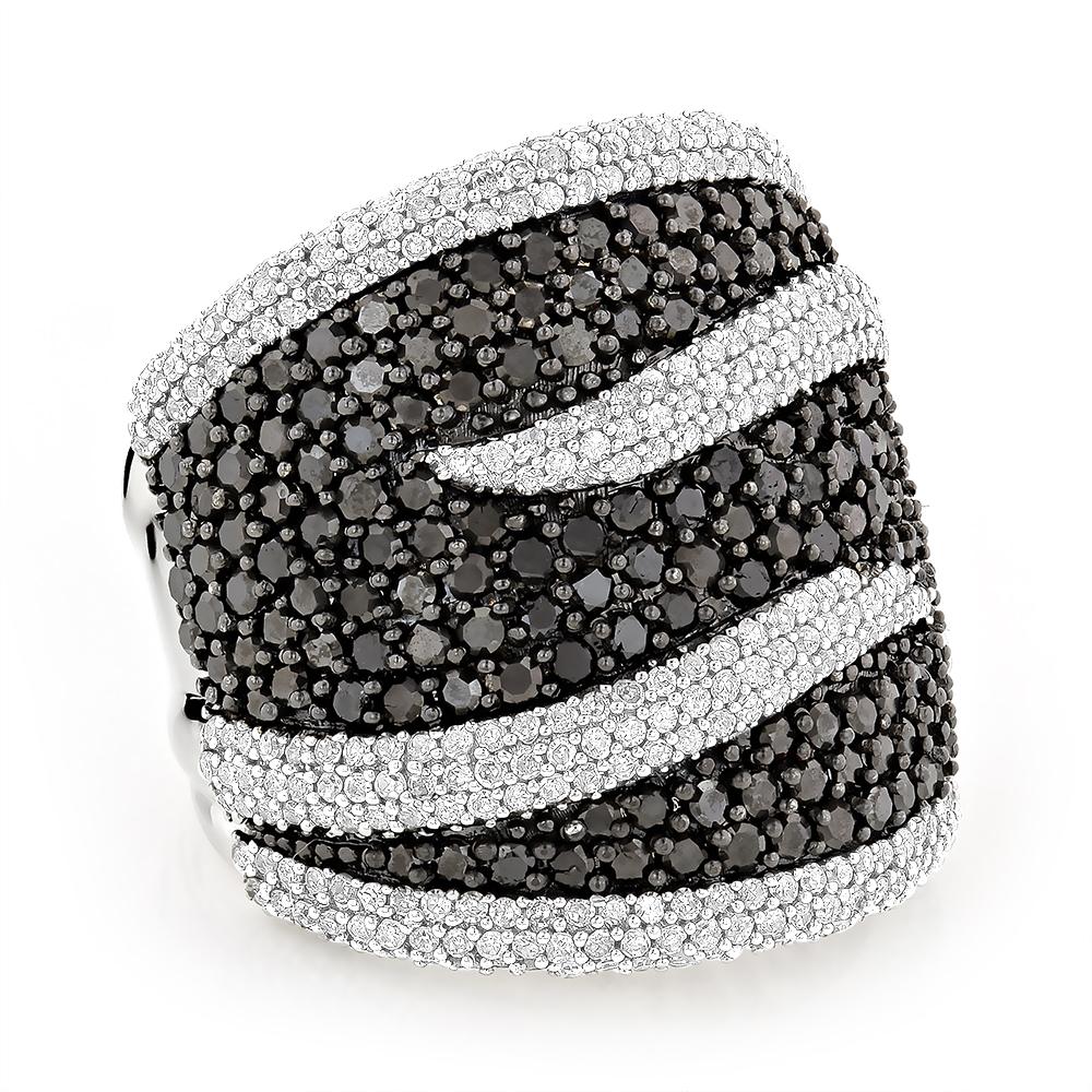 Ladies Black and White Diamond Cocktail Ring 4ct 14K