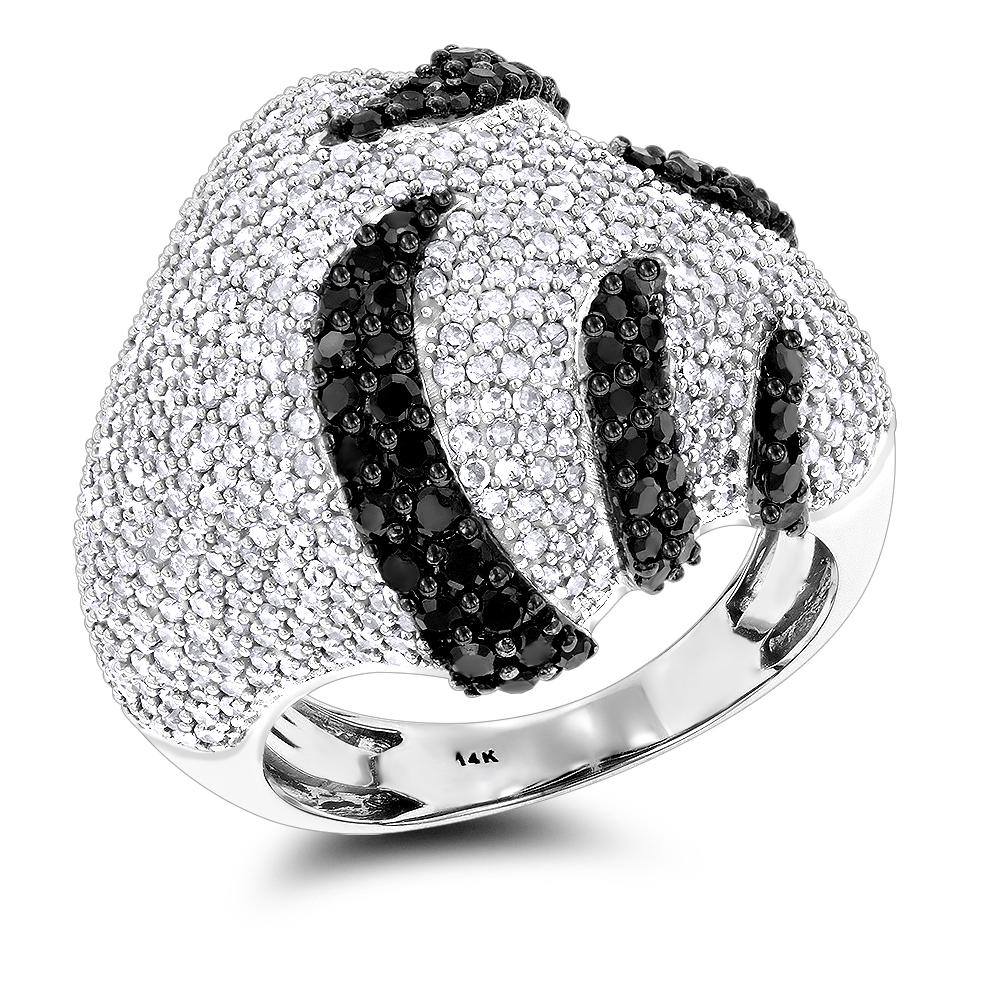 Ladies Black and White Diamond Fashion Ring 2.5ct 14K