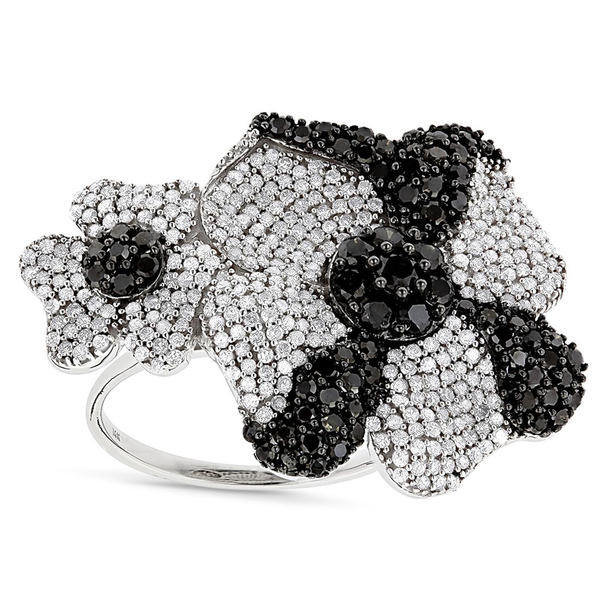 Ladies Black and White Diamond Flower Ring 2.5ct 14K