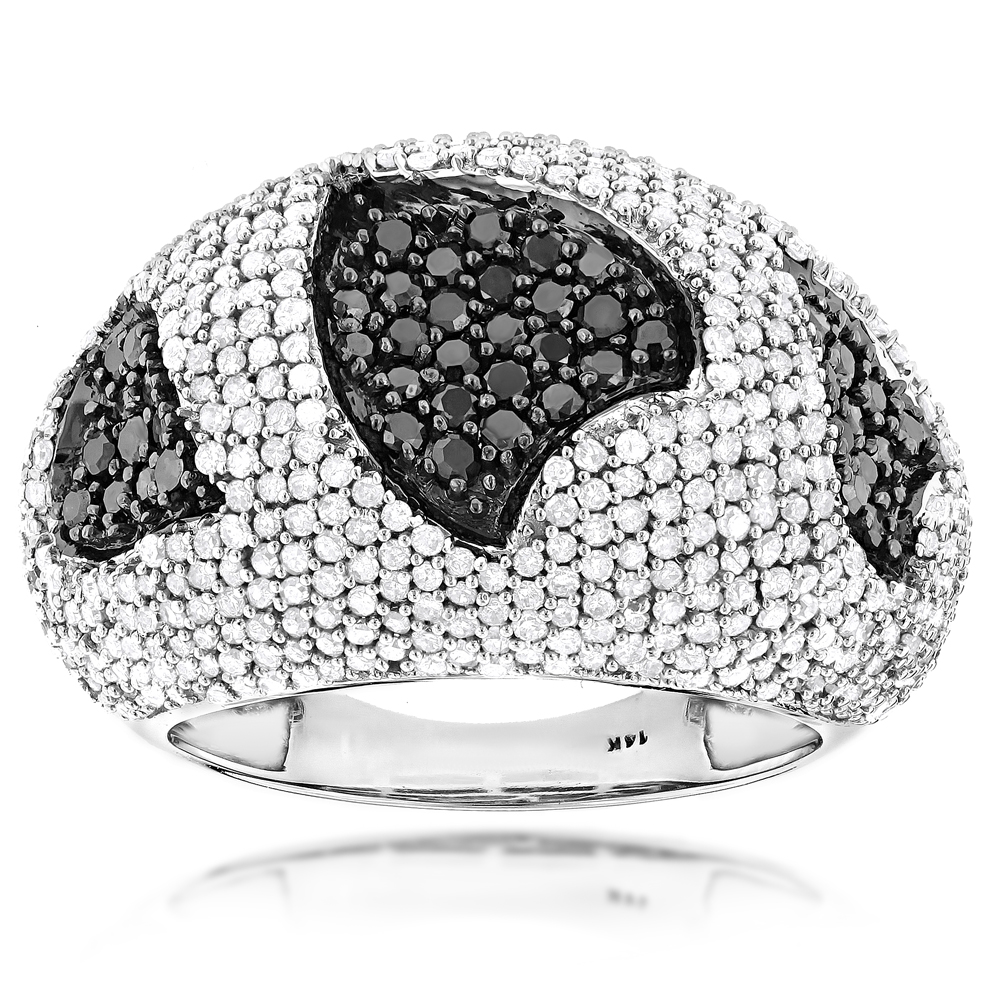 Ladies Black and White Diamond Heart Ring 2.31ct 14K