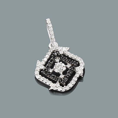 Ladies Black and White Diamond Pendant 0.28ct 14K Gold