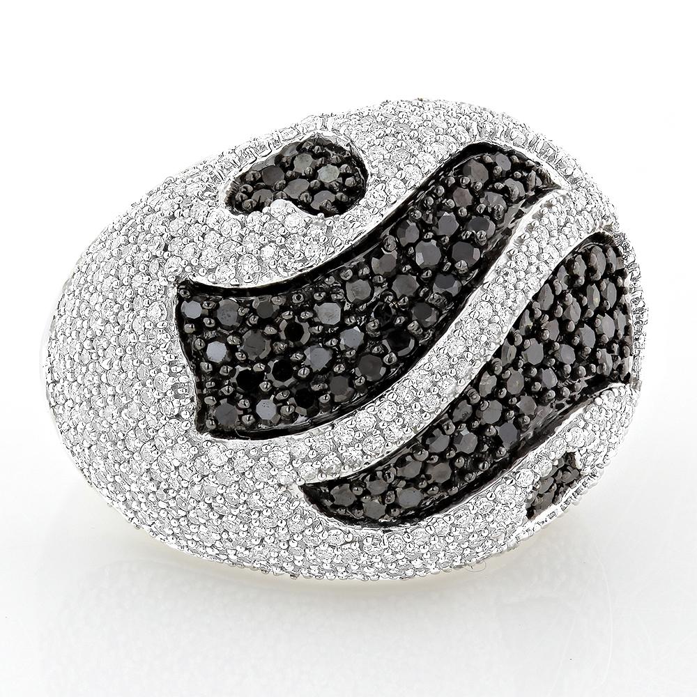 Ladies Black and White Diamond Ring 3.5ct 14K Gold