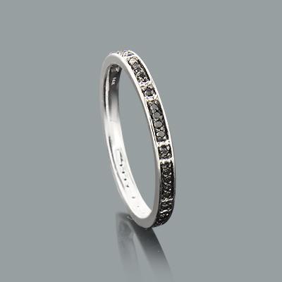 Ultra Thin Ladies Black Diamond Ring 0.14ct 14K Stackable