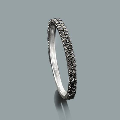 Ultra Thin Ladies Black Diamond Ring 0.36ct 14K Stackable
