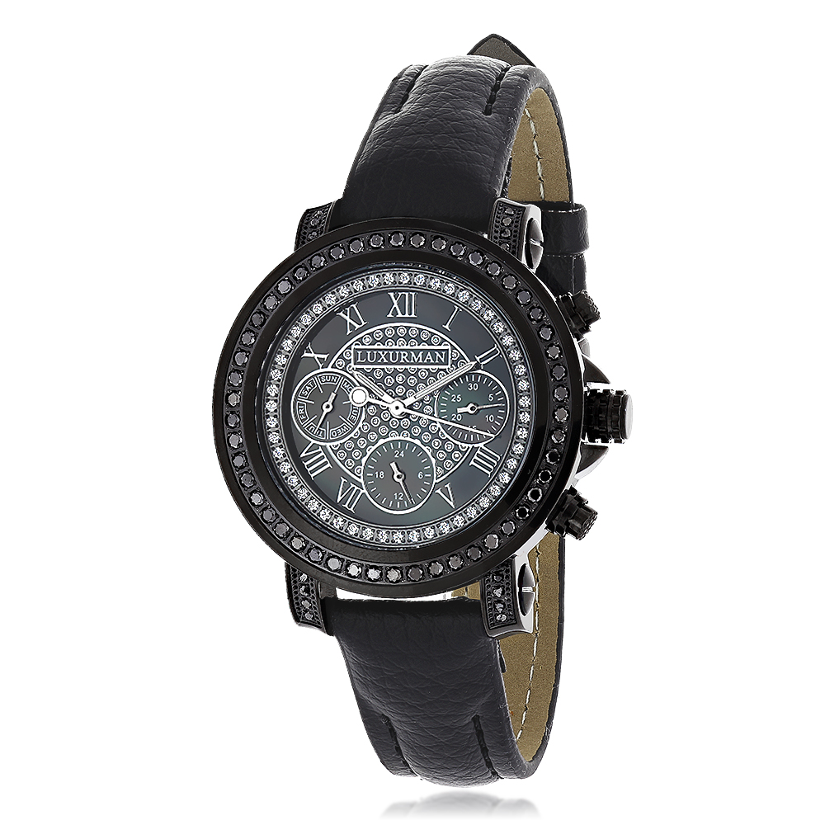 Ladies Black Diamond Watch 2.15ct LUXURMAN Watches