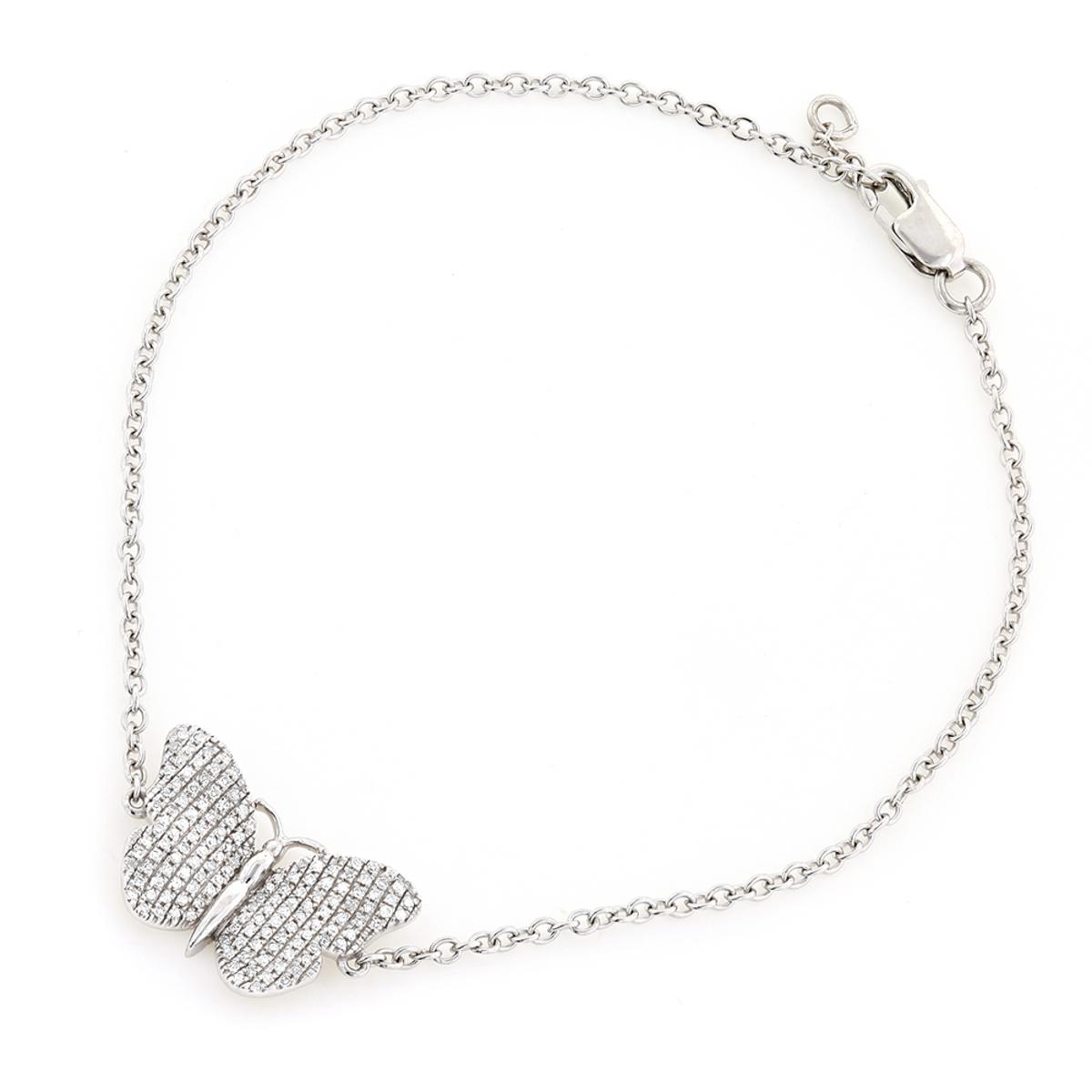 Ladies Bracelets 10K Gold Diamond Butterfly Charm Bracelet