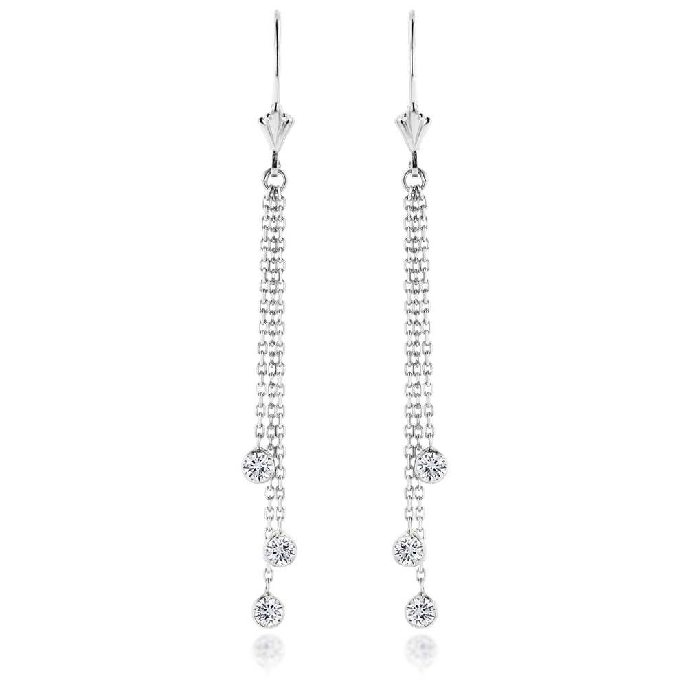 Ladies Chandelier Earrings With Diamonds By The Yard 0.6ct 14k Gold