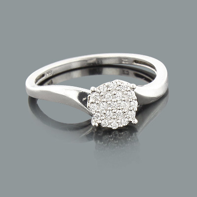 Ladies Cluster Diamond Ring 0.12ct 14K Gold