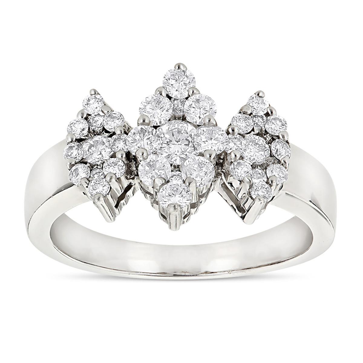 Ladies Cluster Diamond Ring 1.2ct Three Stone Marquise Diamonds Look