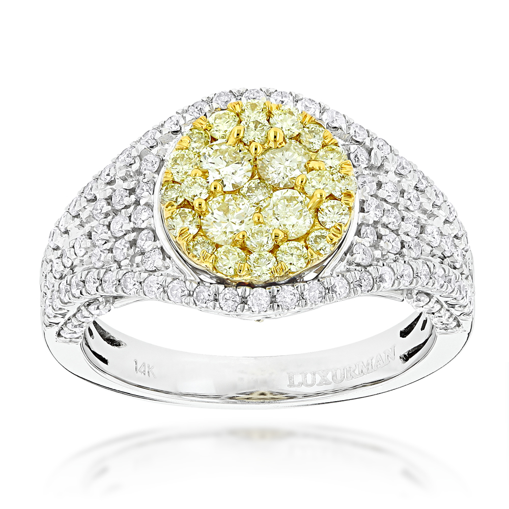 Ladies Cluster Rings: 14K Gold White Yellow Diamonds Engagement Ring 1.75ct