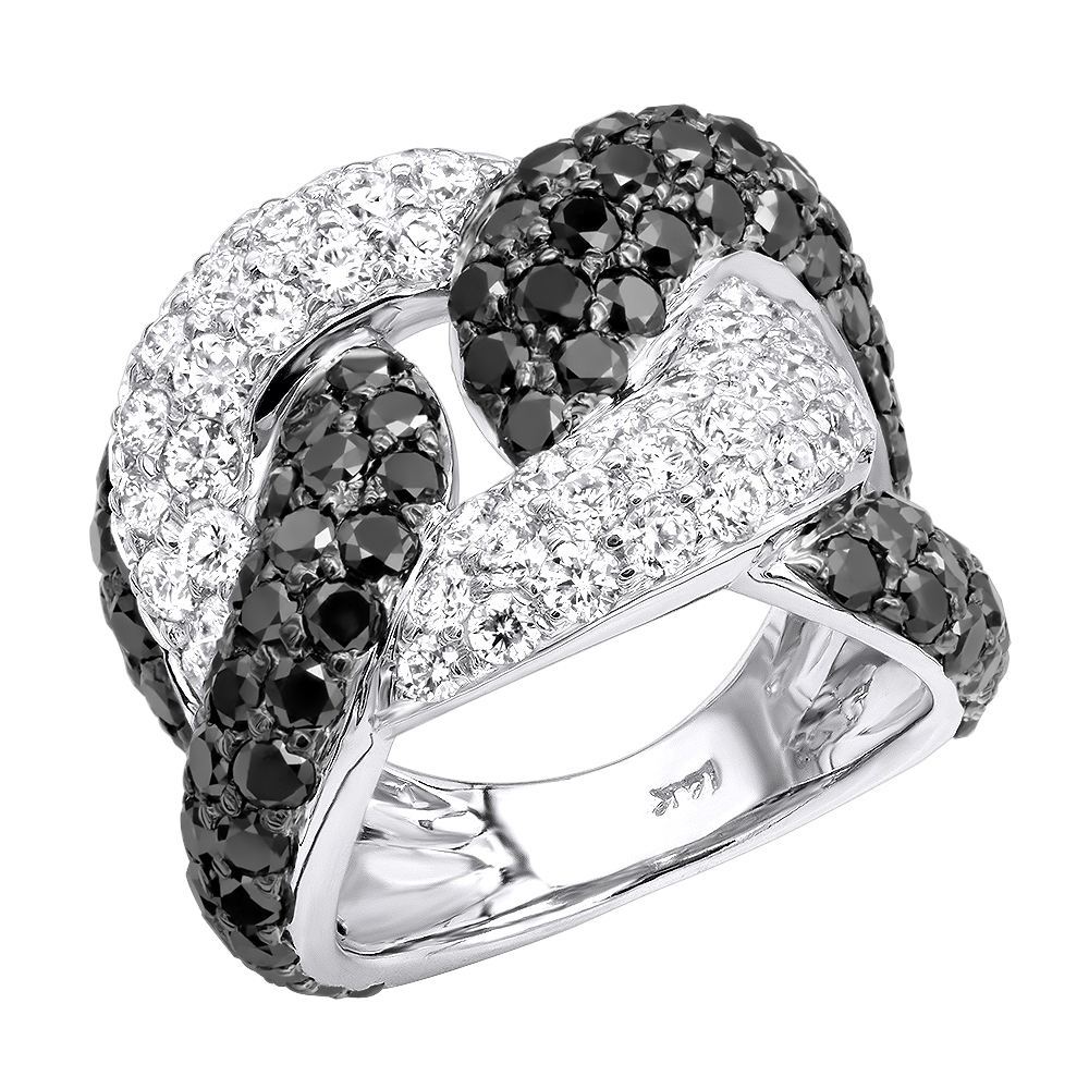 Ladies Cuban Link Rings 7.25ct G VS White & Black Diamond Right Hand Ring