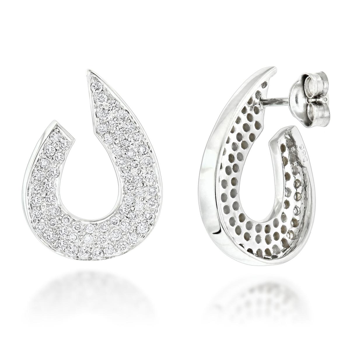 Ladies Designer Diamond Earrings 0.81ct 14K Gold