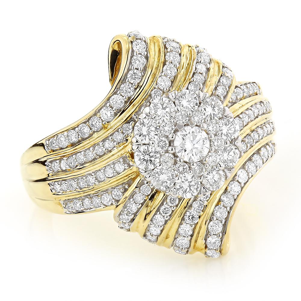 Ladies Designer Diamond Engagement Ring 1.21ct 10K Gold