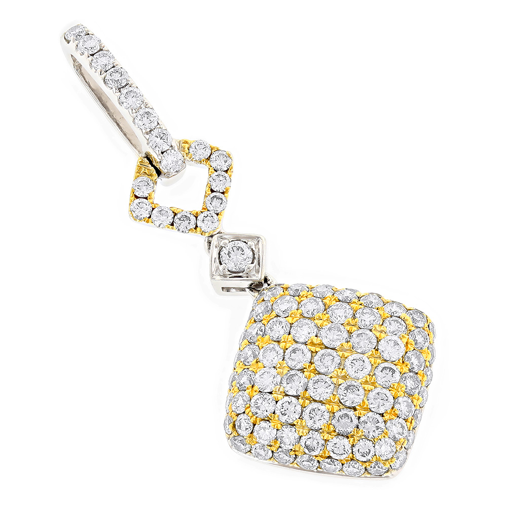 Ladies Designer Diamond Pendant 2.08ct 14K