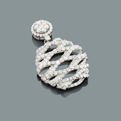 Ladies Designer Diamond Pendant 4.10ct 18K Gold