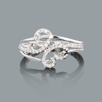 Ladies Designer Diamond Ring 0.26ct 10K Gold