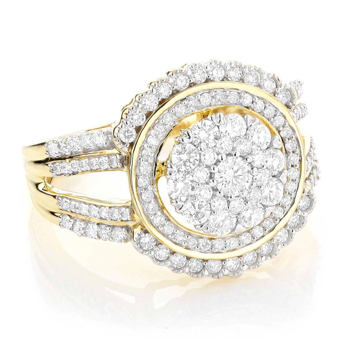 Ladies Designer Diamond Ring 1.21ct 10K Gold