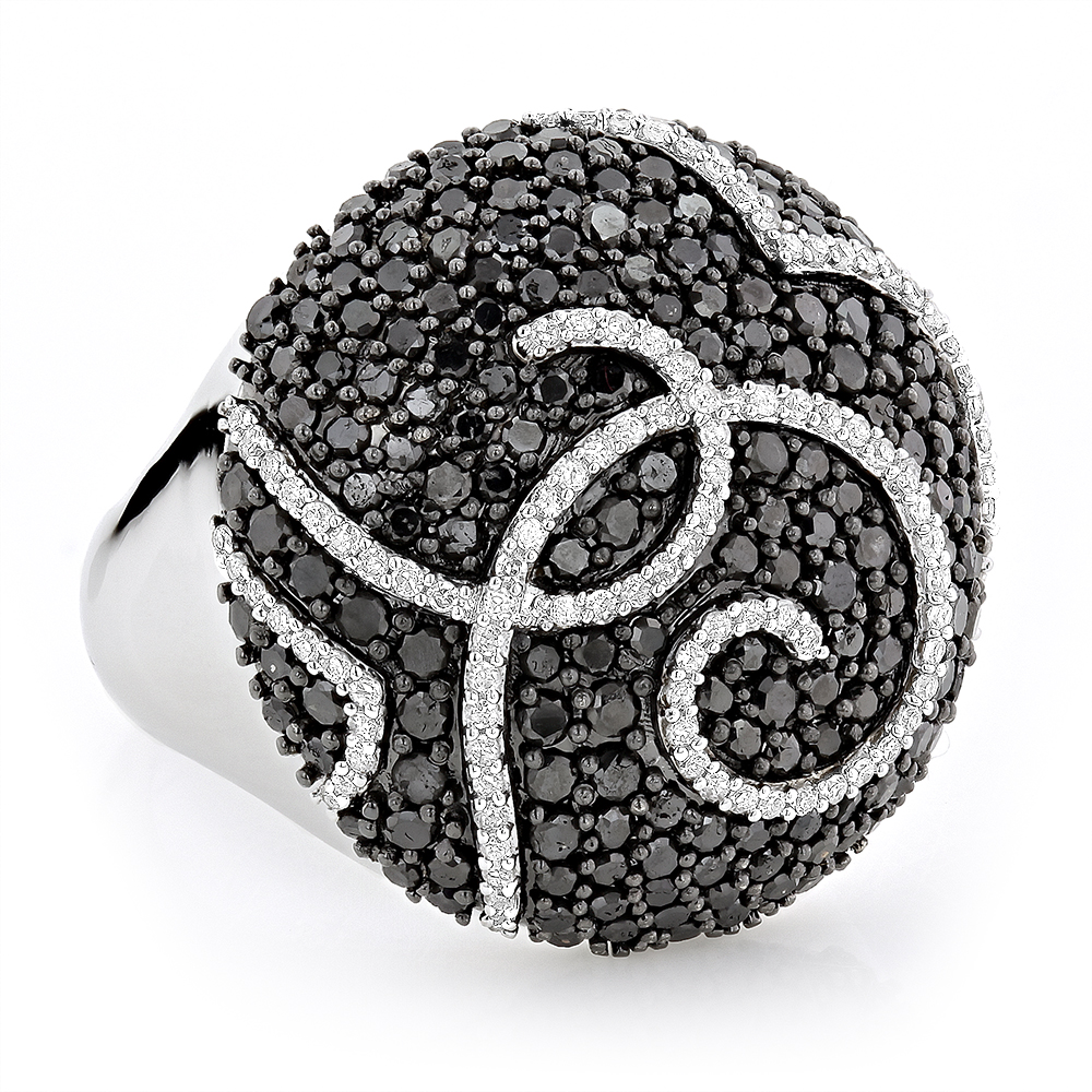 Ladies Designer Diamond Ring 2.18ct 18K Black White