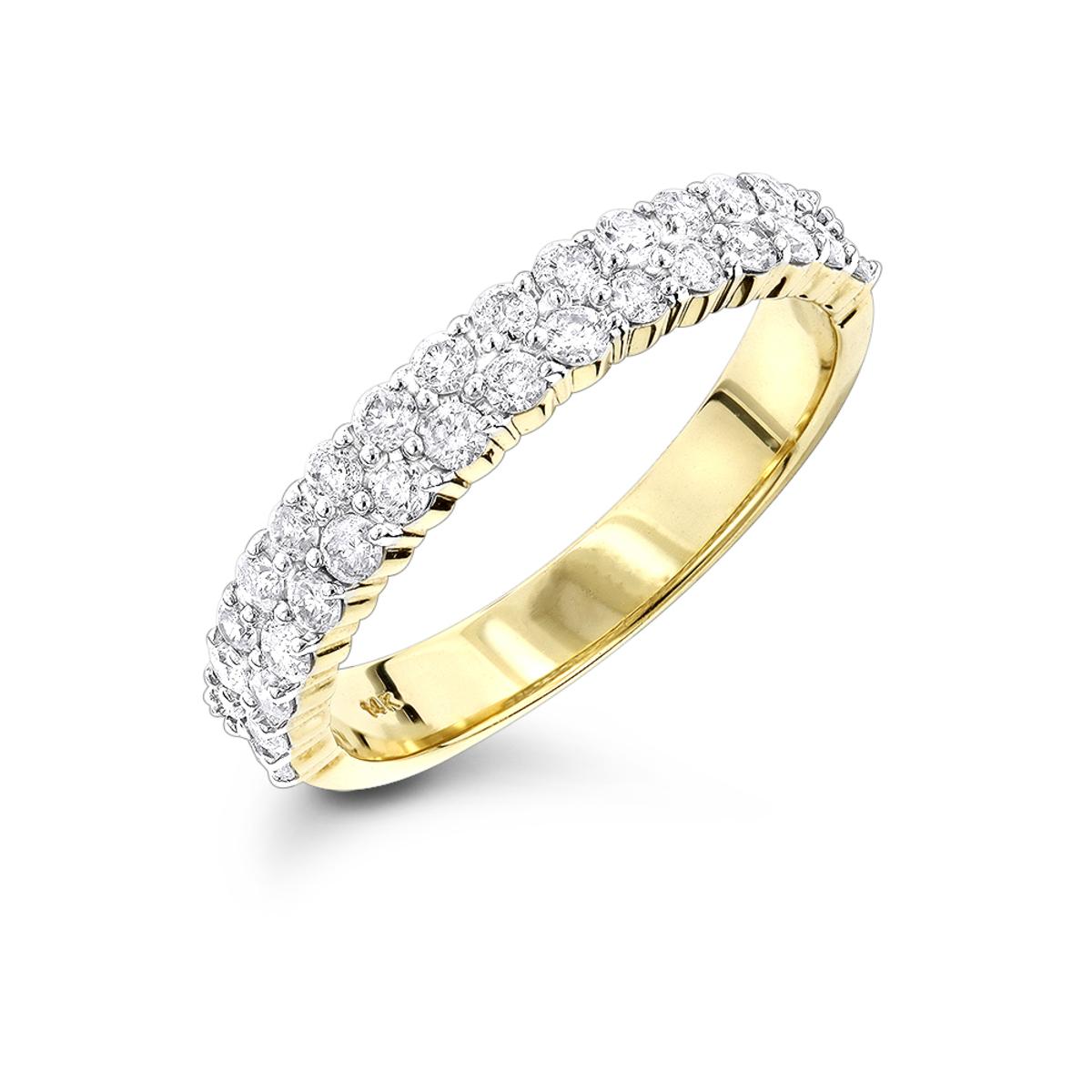 Thin Ladies Designer Diamond Wedding Band 0.70ct 14K Gold