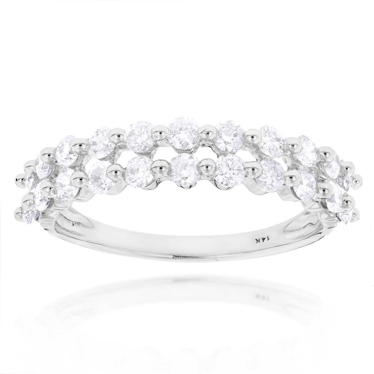 Thin Ladies Designer Diamond Wedding Band 1ct 14K Gold