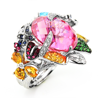 Ladies Designer Gemstone Ring: Pink Quartz With Other Precious Stones 14K Gold