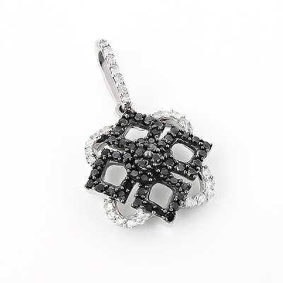 Ladies Designer Pendant with Black and White Diamonds 0.30ct 14K Gold