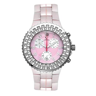 Ladies Diamond Aqua Master Pink Ceramic Watch 1.25ct