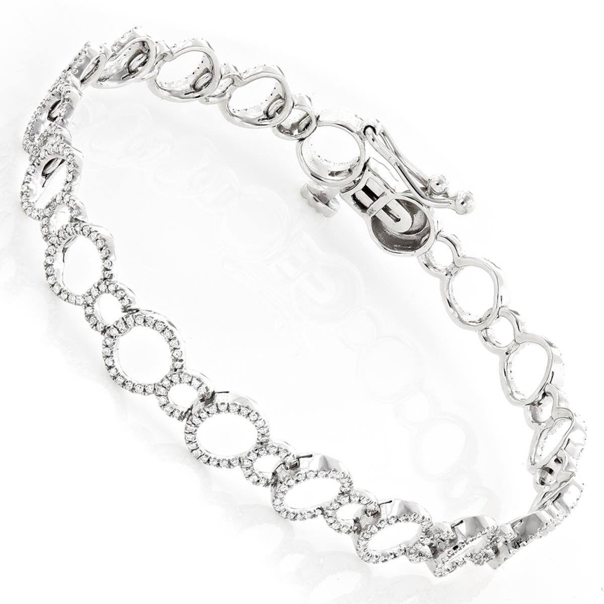 Ladies Diamond Circle Bracelet 0.9ct 14K Gold