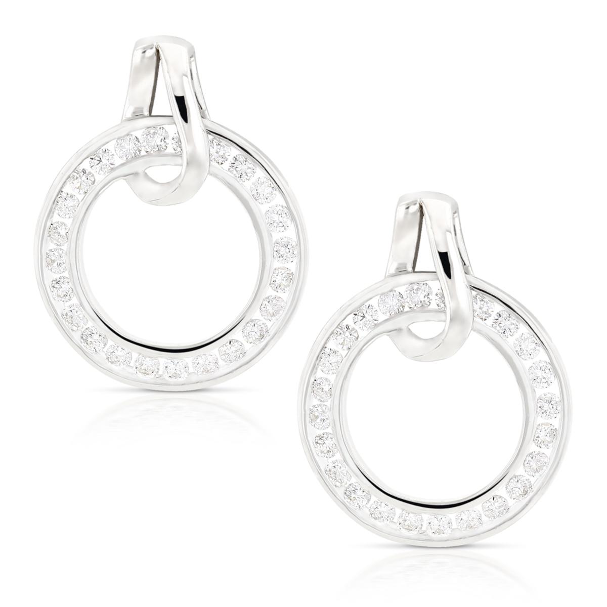Ladies Diamond Circle Earrings 0.73ct 18K Gold