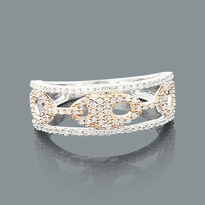Ladies Diamond Cutout Ring 0.44ct 14K 2 Tone Gold