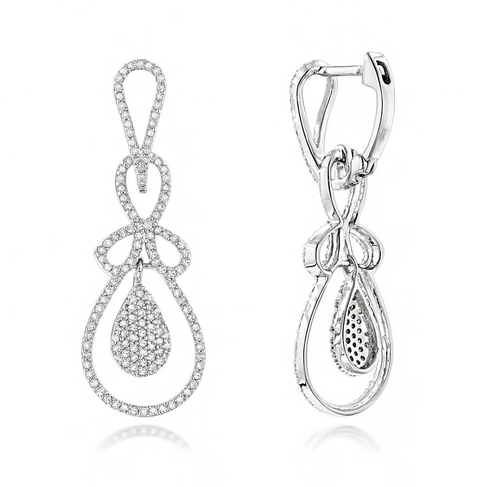 Ladies Diamond Drop Earrings 0.85ct 14K Gold