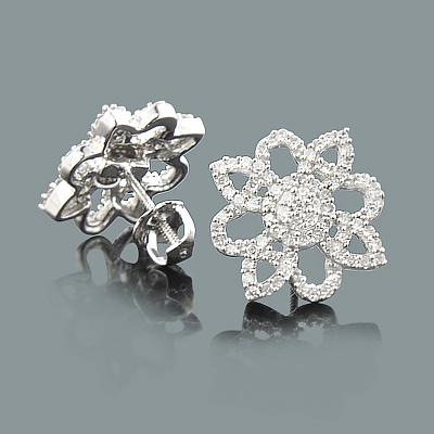 Ladies Diamond Flower Earrings 0.49ct 14K Gold