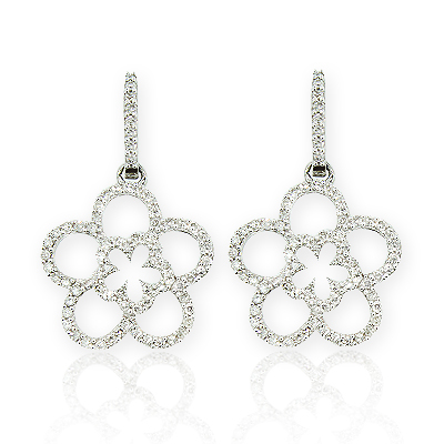 Ladies Diamond Flower Earrings 0.53ct 14K Gold