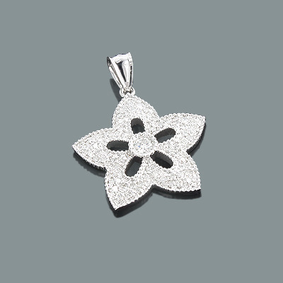 Ladies Diamond Flower Pendant 14K Gold 0.98ct